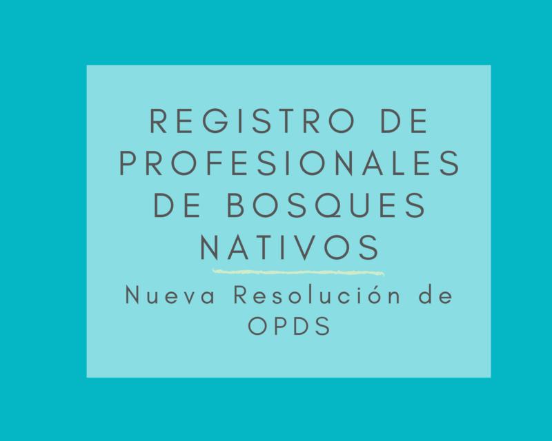 Registro de Profesionales de Bosques Nativos