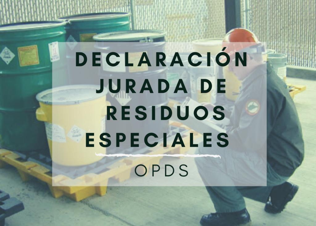 Declaración jurada residuos especiales